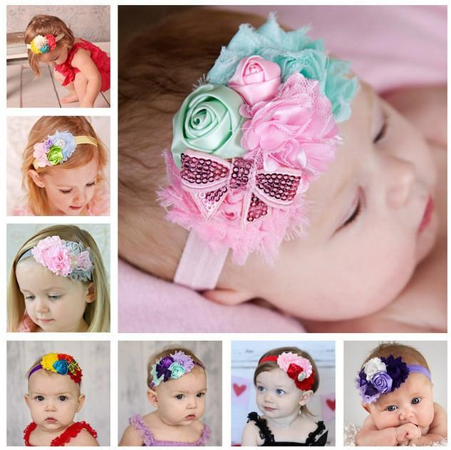 Wholesale- 1 piece Baby Flower Headband Mix 4 Flower Pearl diamond Rose Flower baby hair band Elasticity Baby Girls hair Accessories W022