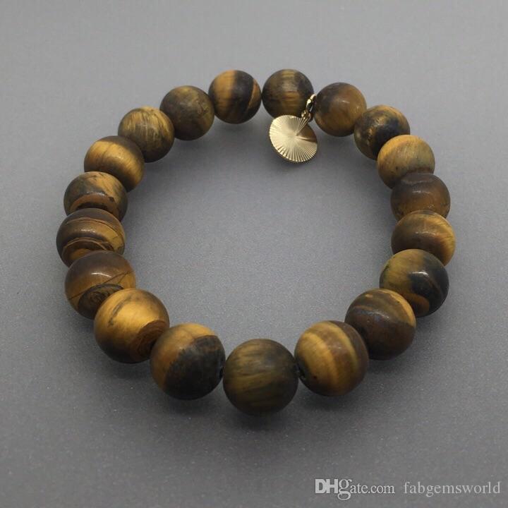 Bracelet en agate oeil de tigre mat de 10mm, bracelet de pierres précieuses tigre élastique, bracelet de pierre gemme, cadeaux