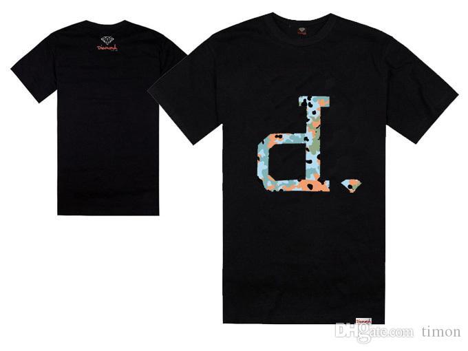 New Diamond Supply logo lettre D T-shirts Hommes / Femmes Hip Hop T-shirt de Skateboard Manches Courtes Coton Tops Livraison Gratuite