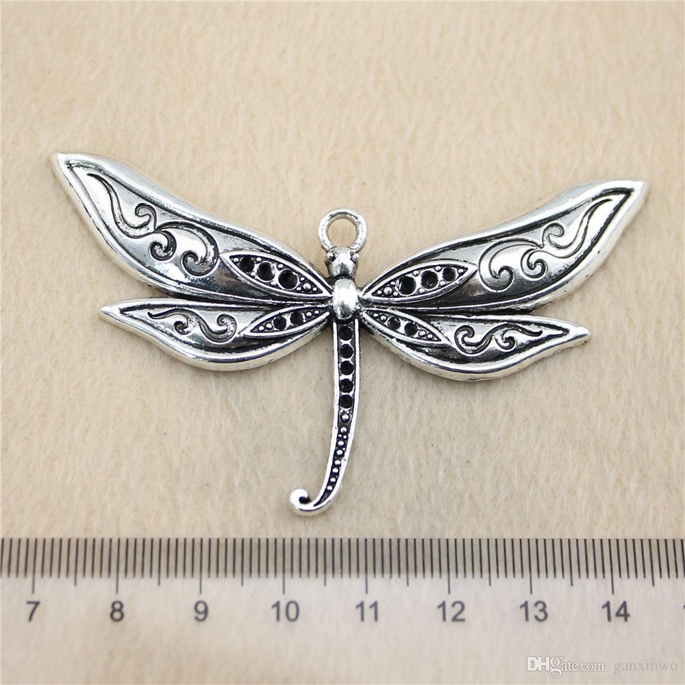 3Pcs 80 * 47mm argento antico ToneLarge libellula Charms in lega di zinco fai da te fatti a mano ciondoli gioielli all'ingrosso
