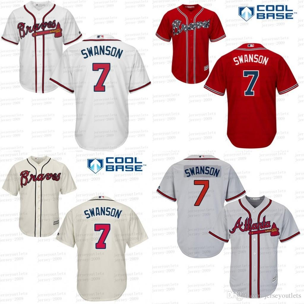70c9916ac ... atlanta braves road cool base  2017 grey white blue red 7 dansby  swanson authentic 2 dansby swanson baseball jersey youth 2