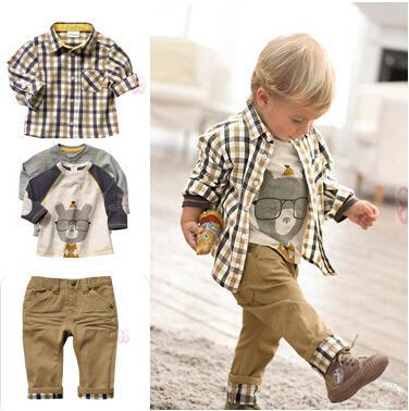 Primavera Otoño Ropa para bebés Ropa para niños Ropa de manga larga a cuadros Camisas + Camisetas + Pantalones Ropa casual para niños Trajes 2-6Years