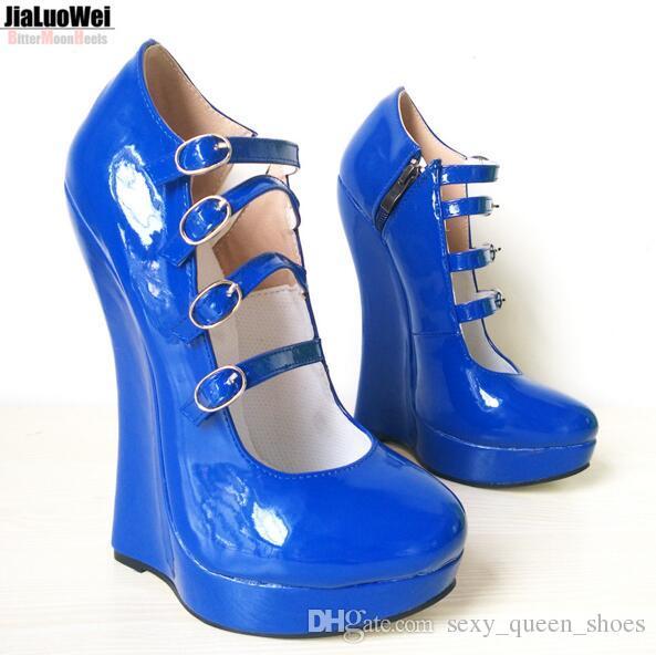 2020 منصة جديدة للنساء مضخات أحذية الأوتاد اللباس الكاحل أبازيم الأشرطة براءات الاختراع والجلود كعب 18CM الرجال السامية مثير الزرقاء