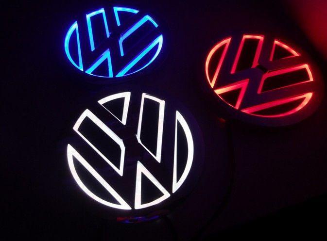 símbolos LED Logo LED 5D Luz Para VW Golf Magotan Scirocco Tiguan CC BORA crachá carro auto lâmpada traseiros 110mm luzes LED emblema