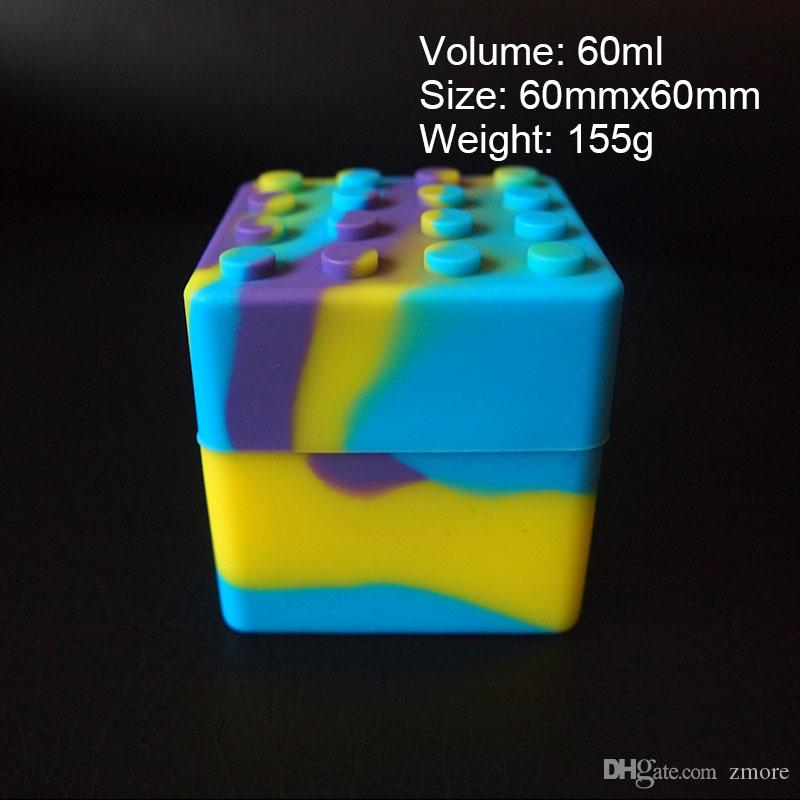60ml große Silikon-Wachs-Behälter-Gläser großes quadratisches Silikon-Tupfen-Dabber-Werkzeug-Glas Vape-Öl-Halter-Dampf 60mm * 60mm Nahrungsmittelgrad FDA SGS-Durchlauf