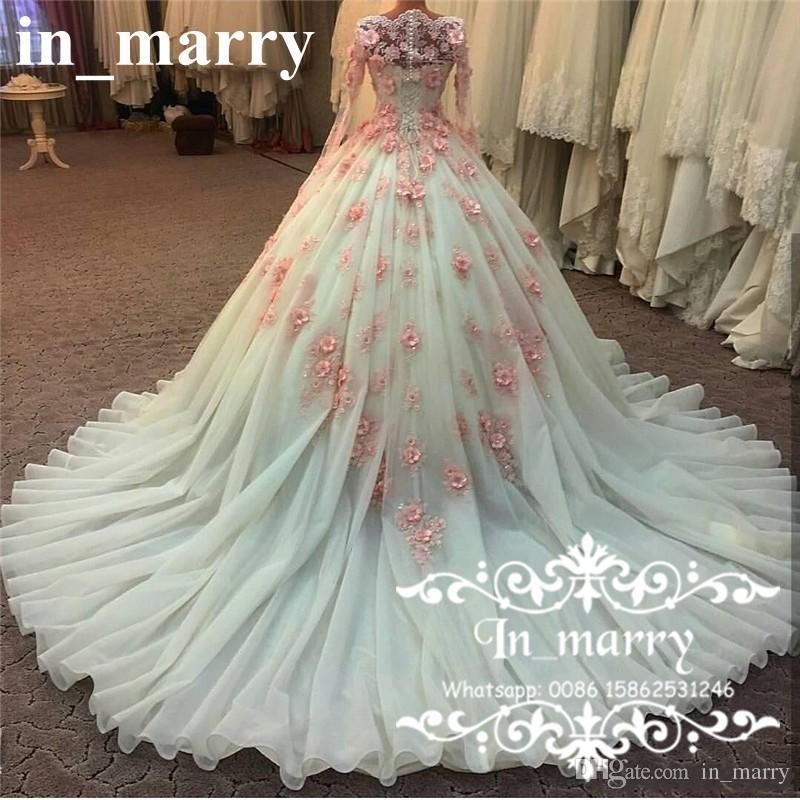 Muslim Arabic Designer Ball Gown Wedding Dresses 2017 Vintage Lace Long Sleeves Pink 3D Floral Crystals