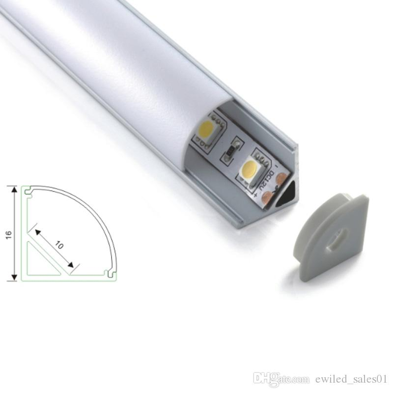 10 X 2M sets/lot V shape aluminum profile led 60 degree beam corner aluminium led housing profile for led cabinet lights