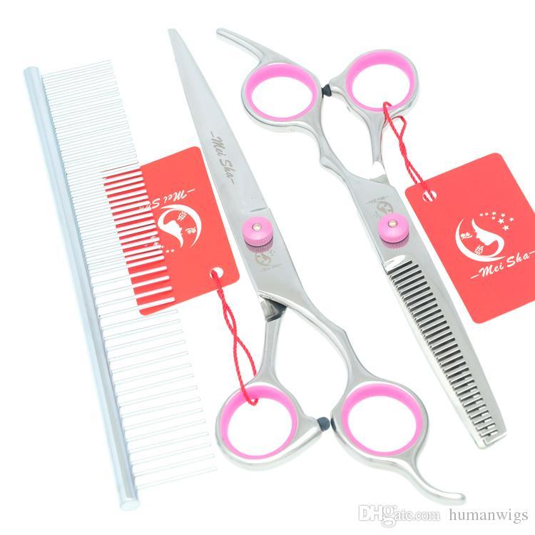 7.0Inch Meisha JP440C Professional Pet Grooming Scissors Set Dog Supplies Pet Cutting & Thinning & Curved Dog Shears Tesoura,HB0047