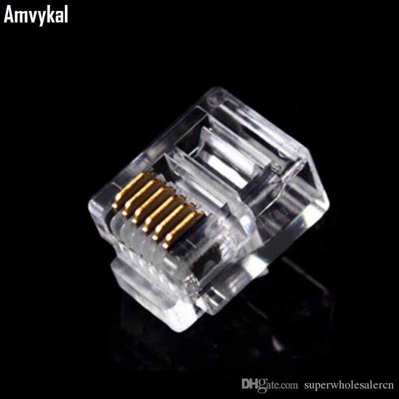 5000pcs / lot Qualitäts-RJ12 6P6C RJ11 6P4C 6P2C Modularstecker Telefon Stecker RJ12 6 Pin 6 Kontakte Kristall Leiter Adapter