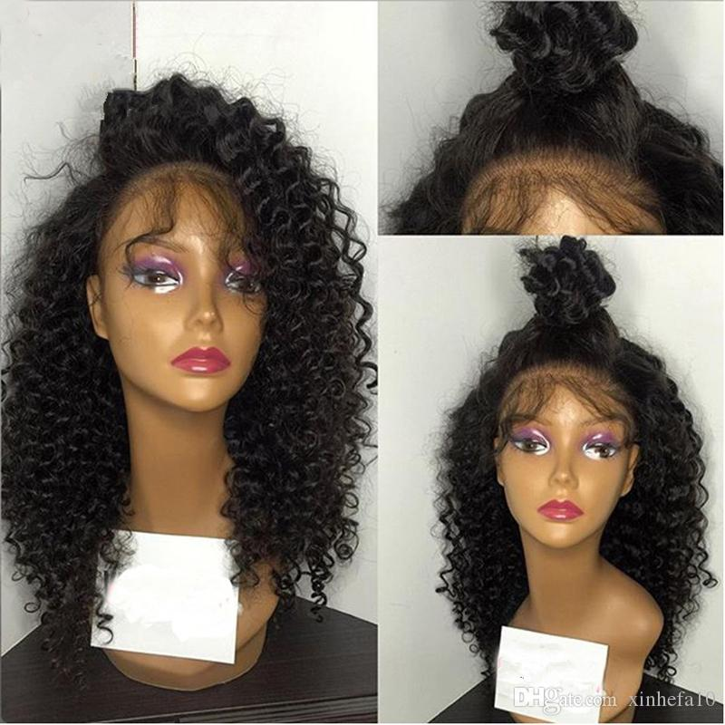 Brazilian Non-Remy Human Hair 130 Density Kinky Curly Full lace Human Hair Wigs With Baby Hair Pre Plucked Hairline