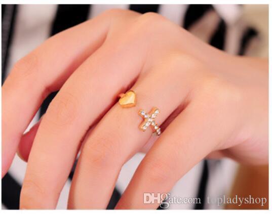 Pfirsich Herz Kreuz Kristall Diamant Frauen Mode Trend Herz Ring Schmuck Großhandel