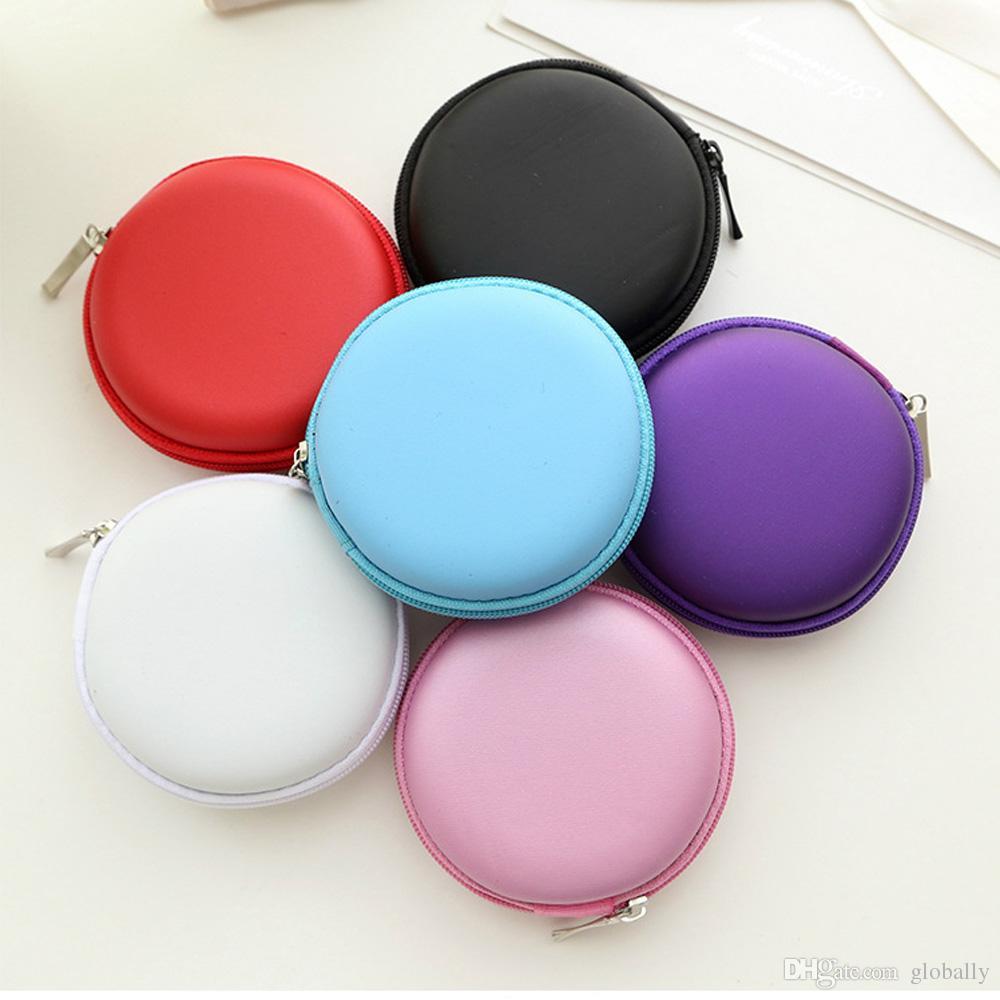 wholesale Mini Zipper Hard Headphone Case PU Leather Earphone Bag Protective Usb Cable Organizer Portable Earbuds Pouch Box
