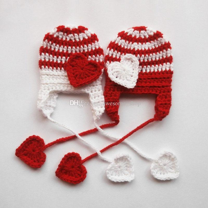 Adorable Valentines Hat ,Handmade Knit Crochet Baby Boy Girl Twins Red White Striped Hat with Love Heart,Infant Toddler Photography Prop