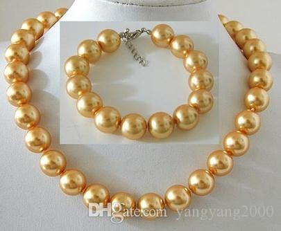Luxury new 12mm oro naturale South Sea Shell collana di perle 17 pollici in argento 925 fibbia BX06 braccialetto libero