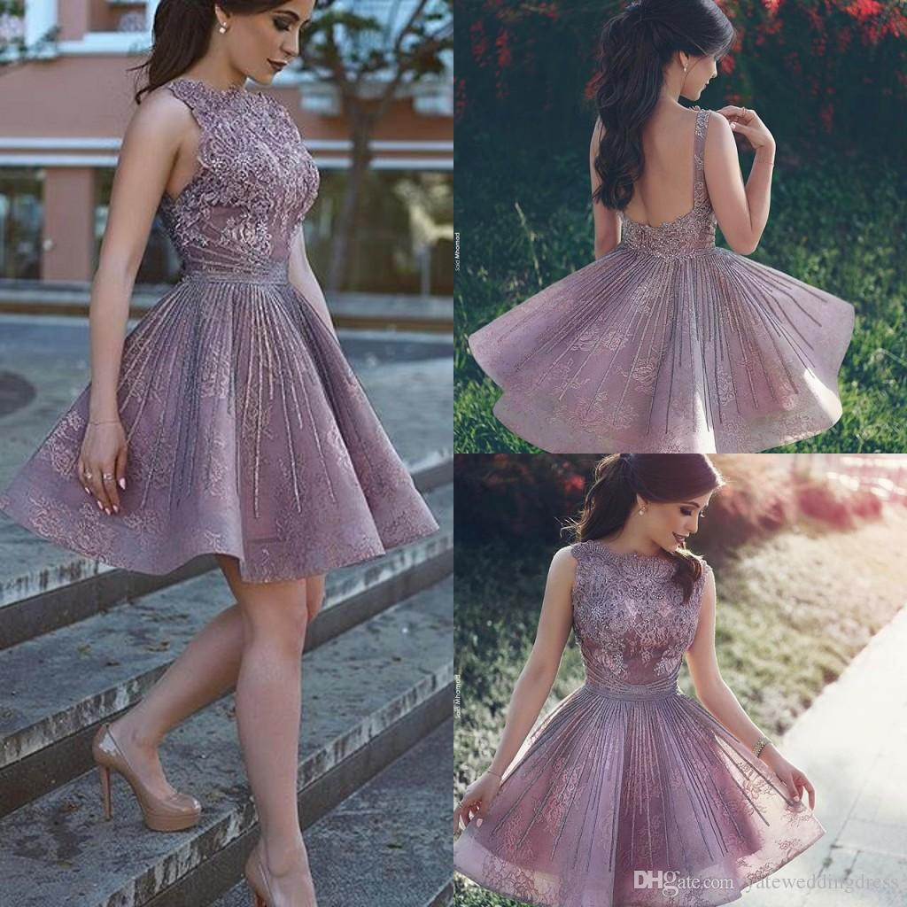 2017 Bateau Short Homecoming Dresses With Lace Applique A-Line Prom Dresses Backless Custom Made Party Gowns Elegant Fashion Said Mhamad