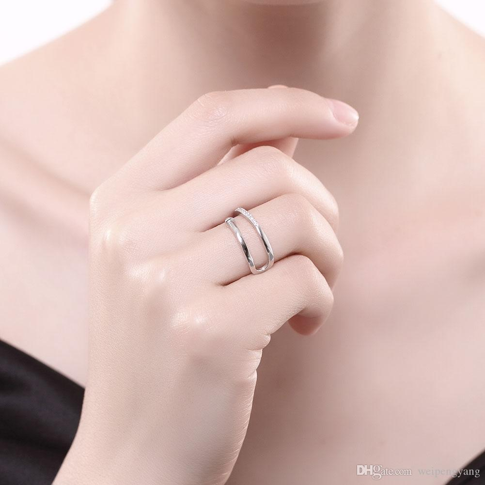 silver plated fashion rings Finger CZ For Women Ring Wedding Party ...