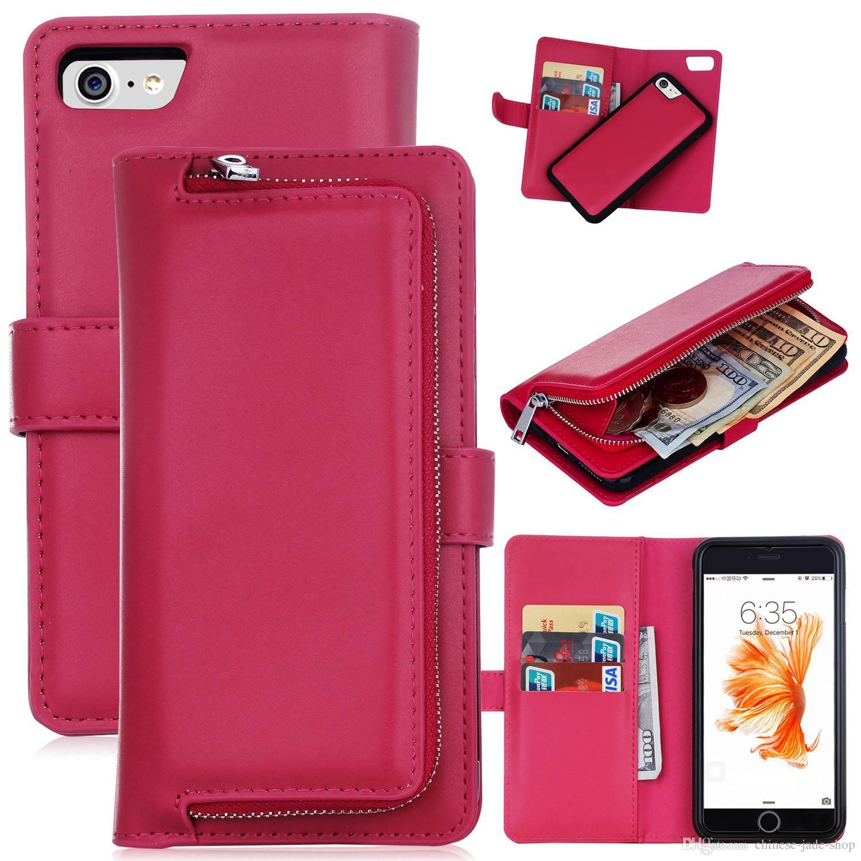 2磁石の取り外し可能な取り外し可能なジッパーレザー財布ケースカバーのためのiphone 7 8 1pcs /ロット