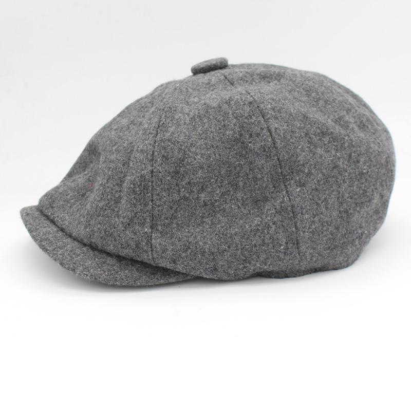 Atacado- Beckham mesmo design Beret Moda Masculina Gorras Planas sólida Lã Boina boina para homens Chapéus Cap octogonal Casual HT51095 + 15