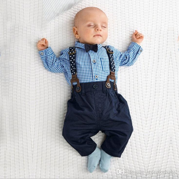 spring baby boy plaid shirts belt pants boy clothes sets autumn ...