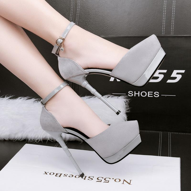 Sexy ankle strap bridal pumps fashion suede hollow out pointed toe stiletto high heels wedding dress shoes 219-9