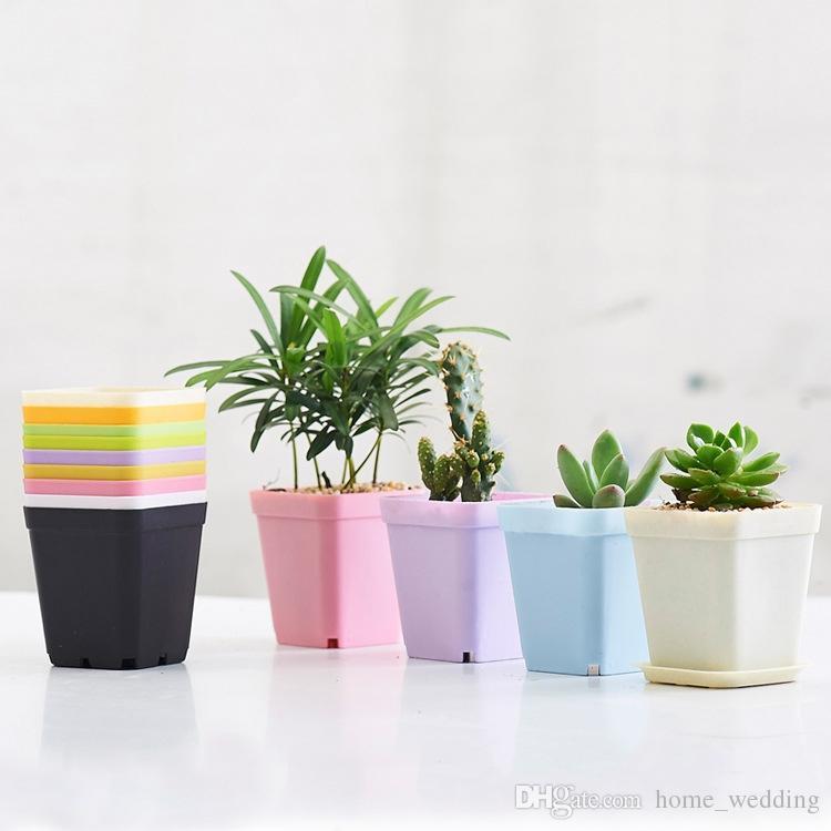 300sets Bonsai Planters Plastic Table Mini Succulents Plant Pots and Plate Gardening Vase Square Flower Pot Colorful #WS37