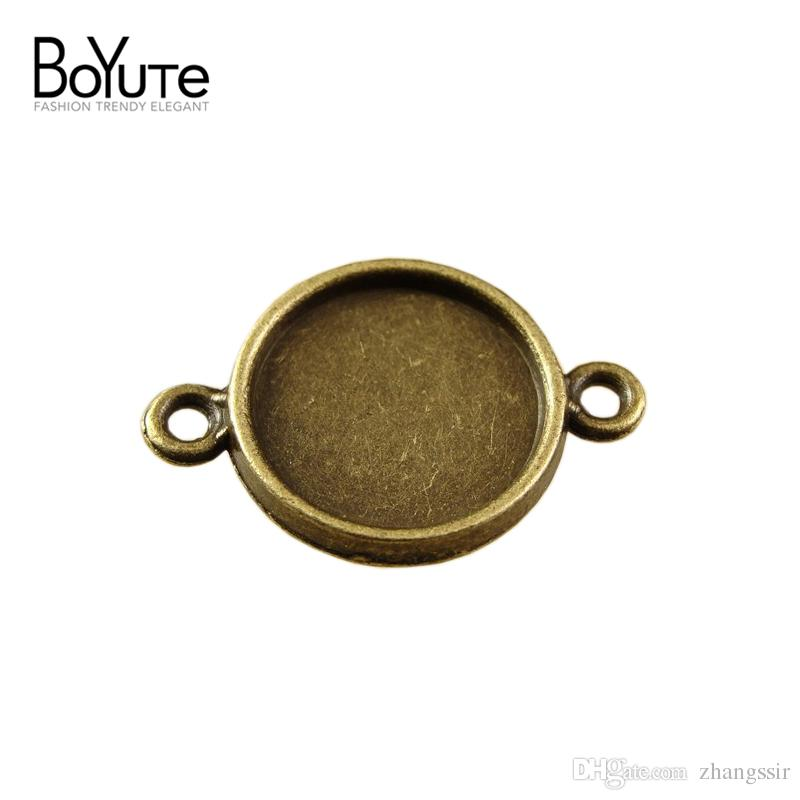 BoYuTe 100Pcs Round 10mm 12mm Pendant Tray Cabochon Base with 2 Loops Wholesale Vintage Style Antique Bronze Plated Pendant Blanks