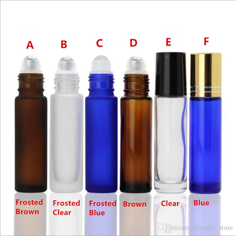 6 Color 10ml Roller Bottles for Essential Oils Perfume 10 ml Glass Roll on Bottles with Metal Roller Balls In Stock !