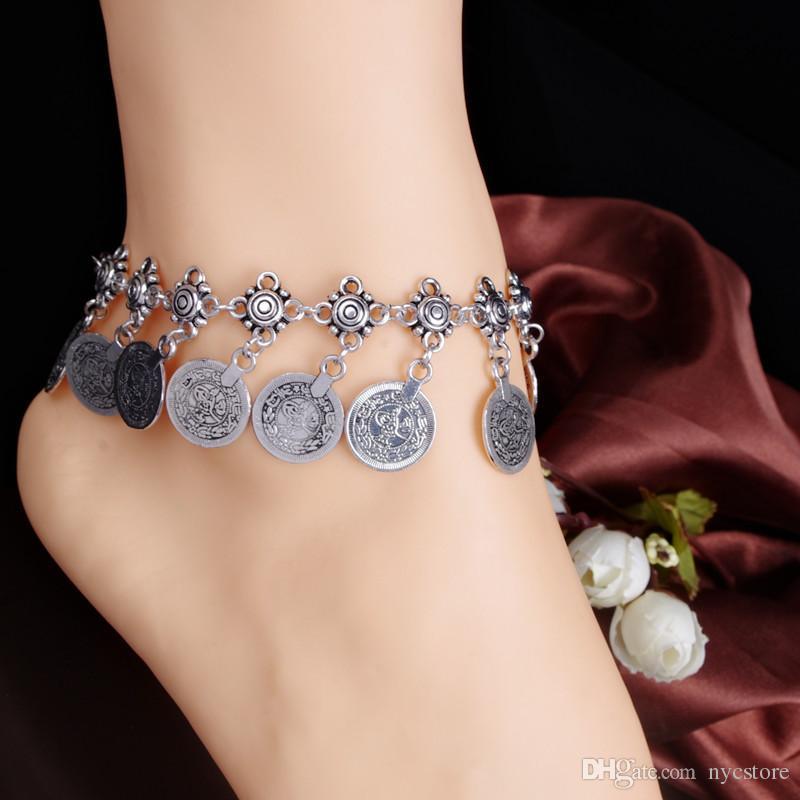 En gros 20pcs Pas Cher Tribal Ethnique Pièce En Argent Tassel Gypsy Turc Anklets Bracelet Bijoux