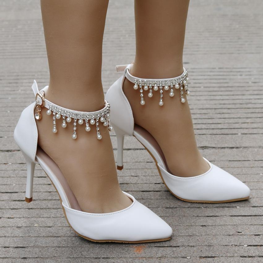 rystal Mulher Rainha franjados sapatos brancos de salto alto sandálias do tornozelo da plataforma de cetim das mulheres nupcial do casamento Prom Dress Shoes