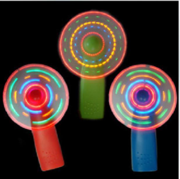 Flash de luz colorida mini ventilador fã ventilador colorido moinho de vento Flash LED brinquedos atacado