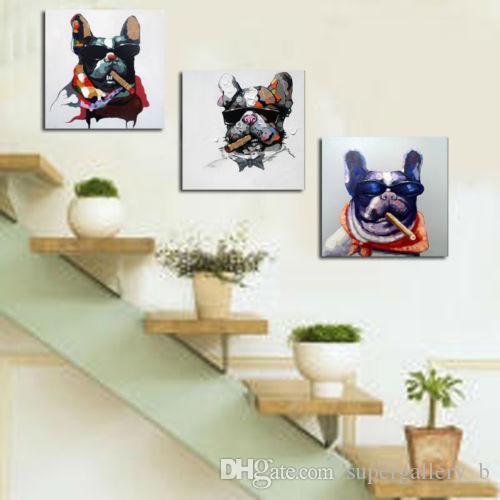 özelleştirilmiş olabilir Yüksek Kalite Tuval Çoklu boyutlarda üzerinde 3 Panel Handpainted Özet Hayvan Sanat Yağlıboya Resim köpekleri, Ev Duvar Dekoru Çerçeveli