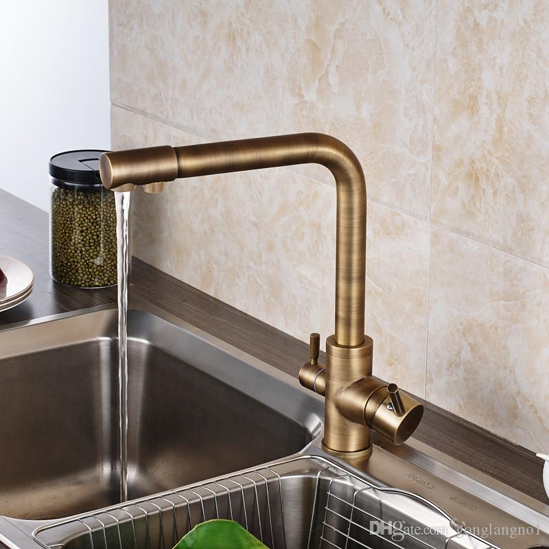 2020 New Popular Retro Style Antique Brass Kitchen Faucet Two
