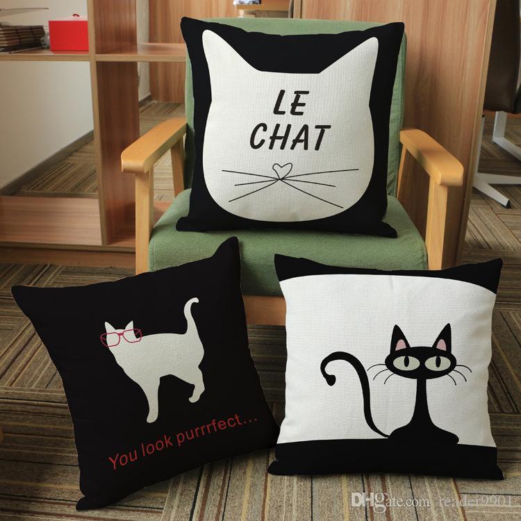 Fashion Home Sofa Hand-painted Cat Printed Cute Flax Pillow Cushion Cover FI