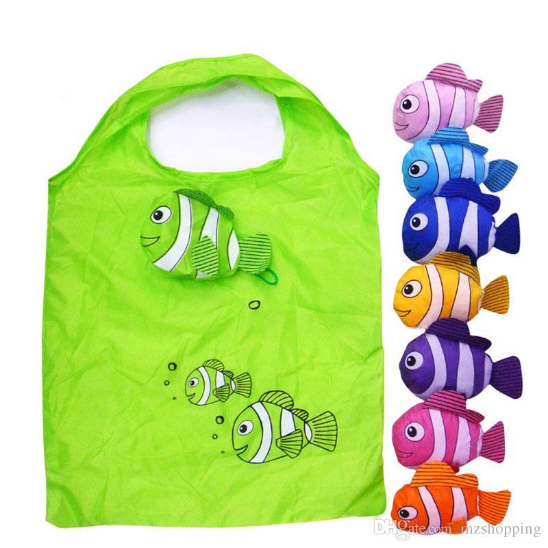 나일론 가방 마이크 새로운 귀여운 유용한 열 대 물고기 Foldable 가방 에코 재사용 쇼핑 가방 선물 가방