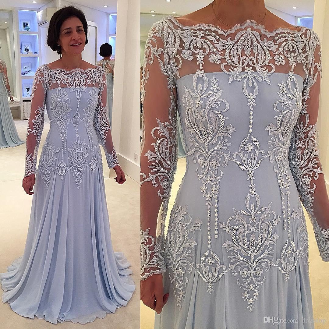 Elegant Lace Mother Of The Bride Dresses With Long Sleeves Bateau Neck A Line Wedding Guest Dress Floor Length Chiffon Mother Groom Gowns Mother Of