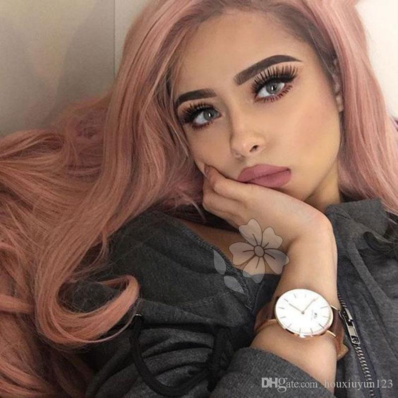 Pink Color Synthetic Lace Front Wigs Glueless Kanekalon Heat Resistant Fiber Body Wave Hand Tied Synthetic Lace Front Party Wigs