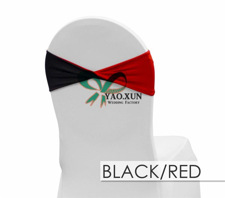 Red And Black Double Layer lycra Spandex Chair Band \ Chair Sash For Wedding Chair Cover Decoration