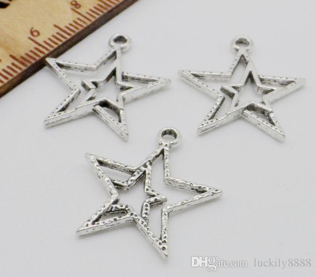 200pcs / lot en alliage de zinc en métal Star Charms Antique argent pour bricolage bijoux pendentif Charms faisant trouver 20x20mm