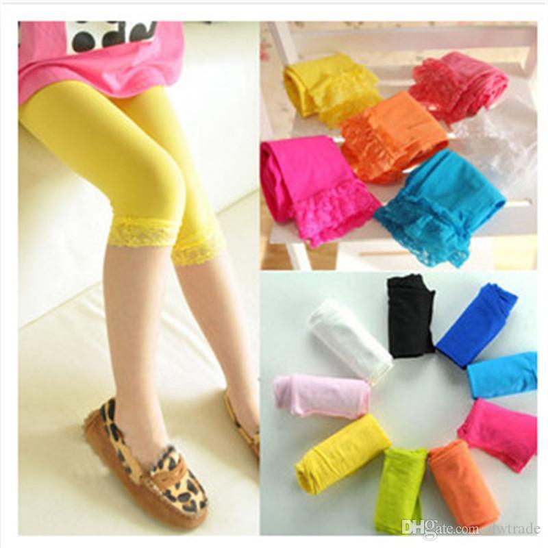 2017 High quality kids baby girls velvet candy color leggings summer girls lace leggings children Cropped Pants free shipping in stock