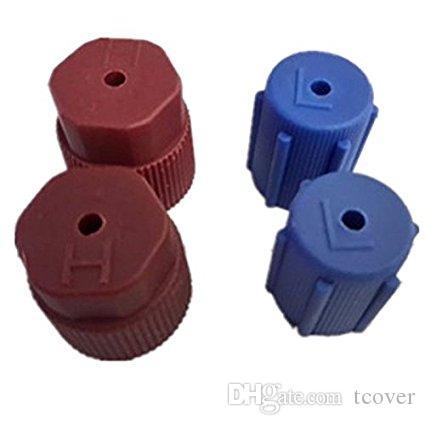 ZOOKOTO 차량 에어 컨디셔닝 높낮이 밸브 서비스 캡, R134a, 13mm 16mm, 고압 갈색 2 개 저압 청색 4 개 캡