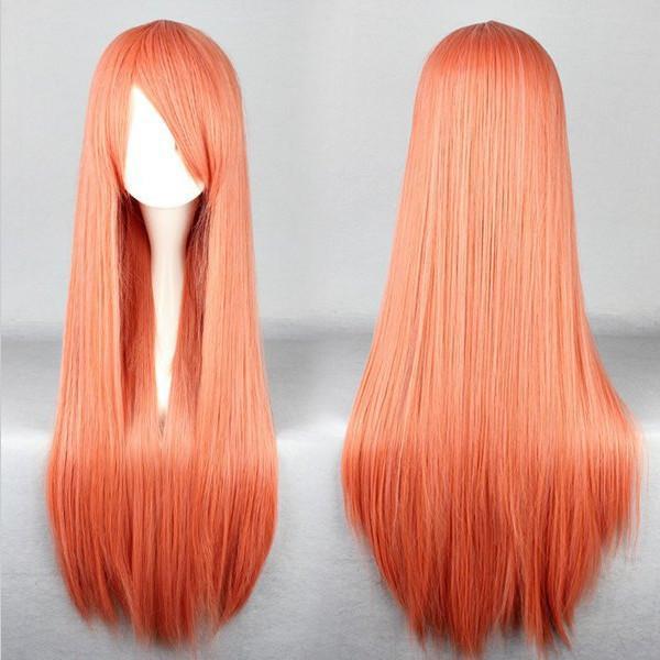 MCOSER Livraison Gratuite Orange Chaude Haute Qualité Synthétique 80cm Longue Droite Perruque Cosplay
