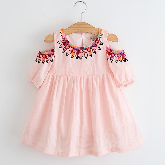 4 Colors Baby Girls Summer Dress 2017 Spring Kids Girls Floral Print Dresses Princess Off-shoulder Tutu Dress For Party Children Clothing