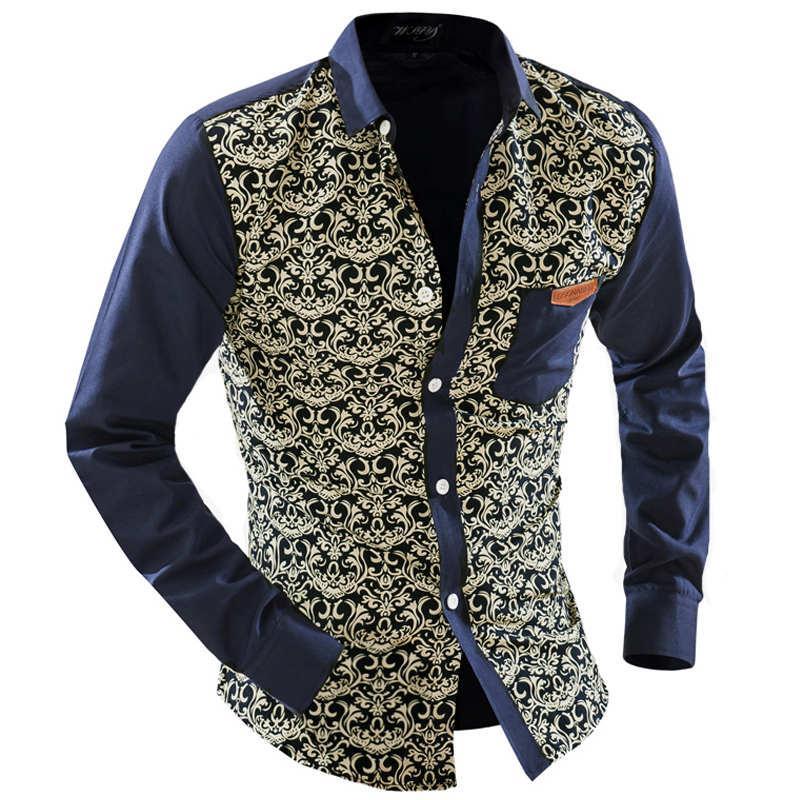Atacado- Mens Camisas Florais Camisa Havaiana Camisa Social Manga Comprida Casual Camisas De Grife Homem 2016 Slim Fit Homens Roupas Chemises Homme