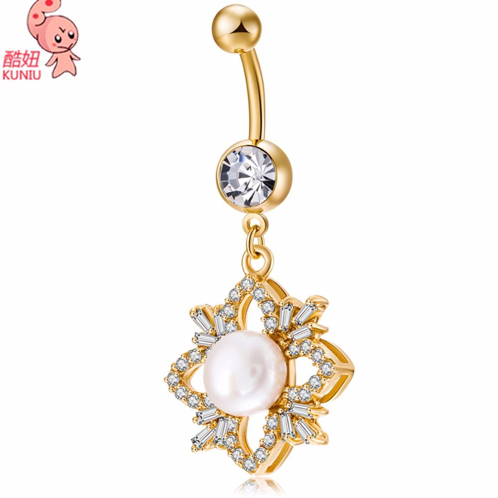 2019 Kuniu 2017 New Hot Crystal Pearl Belly Button Ring Women Body Jewelry 14g Gold Zircon Flower Cz Navel Piercing Belly Piercing From Cxk5 6 6