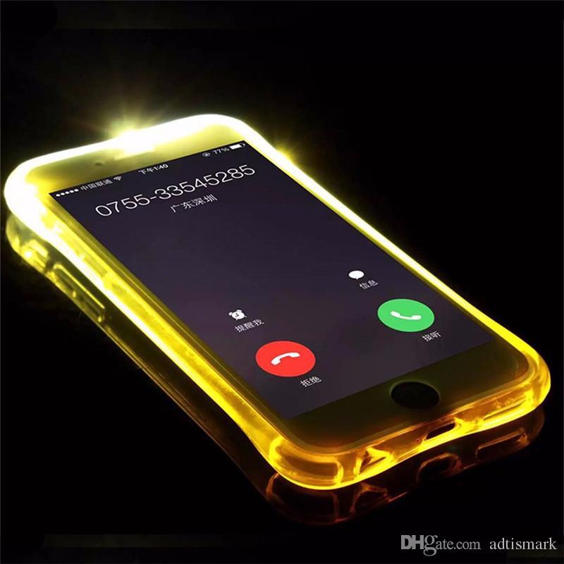 Phone Back Case Fundas TPU + PC LED Flash Light Up Case تذكير غطاء المكالمات الواردة إلى iPhone X 8 7 SE 6 6S Plus Samsung S7 S6 Edge Note 5
