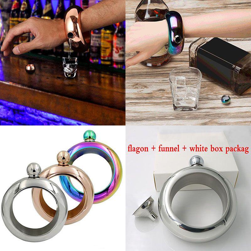 3.5oz Bracelet Bangle Flasks Stainless Steel Jug Bracelet Alcohol Hip Flasks Funnel Jewelry Gift Funnel Bangle With Funnel White Box WX-C30