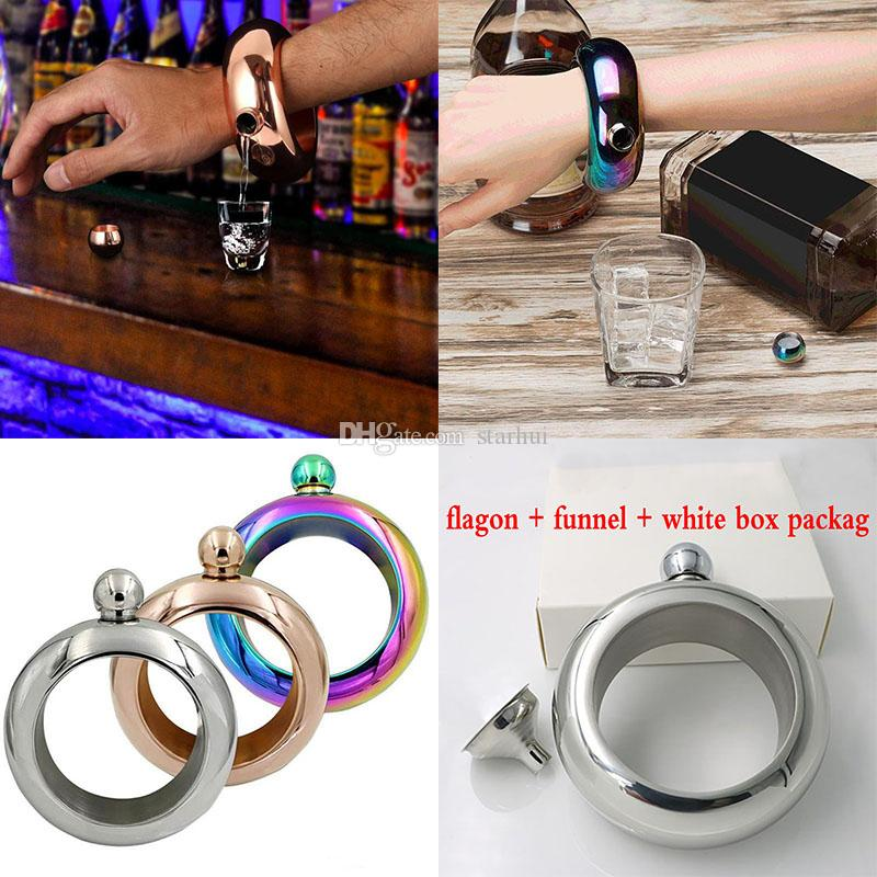 3.5oz Bracelet Bangle Flasks Stainless Steel Jug Bracelet Alcohol Hip Flasks Funnel Jewelry Gift Funnel Bangle With Funnel White Box WX-C30