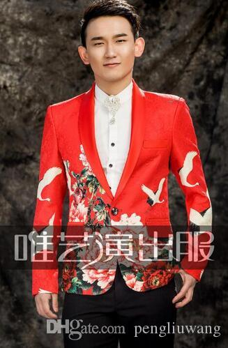 Watch men suits designs masculino homme terno stage costumes for singers men printing blazer dance clothes jacket dress red