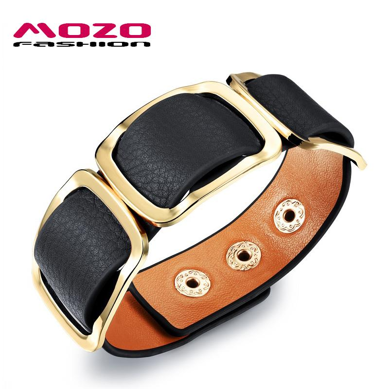 Wholesale-MOZO FASHION Women Charm Trendy Jewelry Black / Orange / Leopard Wide Leather Rope Bracelet Vintage Bangles Party Gifts MPH1004