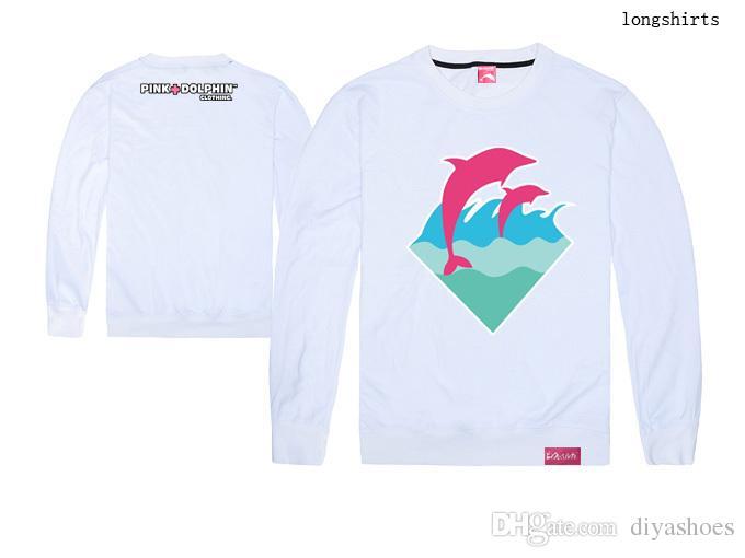 2018 new arrival rosa golfinho especial hip hop homens e mulheres de manga longa t - shirt frete grátis plus size xxl o pescoço 100% algodão top quality